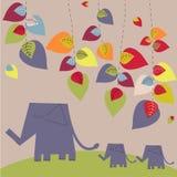 Bright elephants. Elephants family - bright vector background Royalty Free Stock Photos
