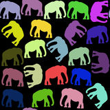 Bright elephants seamless pattern and seamless pattern in swatch Stock Images
