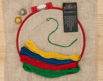 Bright embroidery accessories Royalty Free Stock Photo