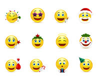Bright  emoticons with holiday attributes Stock Images