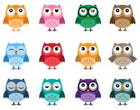 Set of owls in flat design. Bright emotional owls, different characters Royalty Free Stock Photography