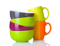 Bright empty bowls and cups Stock Photography