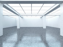 Bright empty gallery interior with dark floor Royalty Free Stock Images