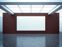 Bright empty gallery interior with red wall Royalty Free Stock Image