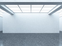 Bright empty gallery interior with white wall. 3d render Stock Images