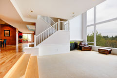 Bright empty house interior with large window Stock Image