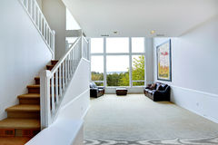 Bright empty house interior with large window Royalty Free Stock Photography