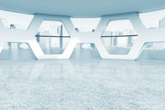 Bright Empty Office Abstract Interior in blue key. 3d Rendering Stock Photos