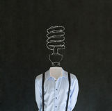 Bright environmental idea man with chalk lightbulb head Royalty Free Stock Photography