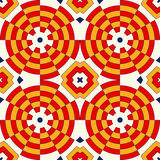 Bright ethnic abstract backdrop. Colorful kaleidoscope seamless pattern with decorative round ornament. On white background. Ornamental vivid wallpaper. Vector Stock Photography