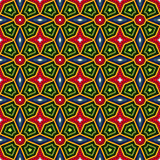 Bright ethnic abstract background. Kaleidoscope seamless pattern with decorative ornament in african style. Ornamental vivid wallpaper. Vector illustration Royalty Free Stock Photos