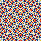 Bright ethnic abstract background. Seamless pattern with symmetric geometric ornament. Ornamental kaleidoscope texture. Vector illustration Stock Photos