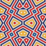Bright ethnic abstract background. Seamless pattern with symmetric geometric ornament. Royalty Free Stock Images