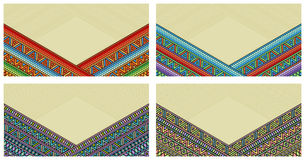 Bright ethnic frame at set. Abstract background with bright ethnic ornament border for special design Royalty Free Stock Photo
