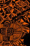 Bright, ethnic pattern, black outline on an orange background, a. Bstract psychedelic background, Boho style. Colorful ornamental card. Vector hand drawn Royalty Free Stock Photography