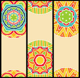 Bright Ethnic Patterns at Set of Cards. Set of three tribal ornate banners with bright ethnic round patterns. Printable set of vertical cards for special design Stock Image
