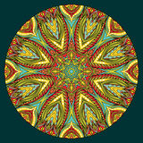 Bright Ethnic Round Element. Design element with abstract bright ethnic round pattern. Tribal mandala in stained glass style. Symmetric ornament Royalty Free Stock Photo