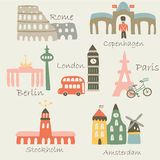 Bright europe cities royalty free stock photos