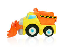 Bright excavator toy car. Isolated track. Stock Image