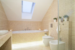 Bright exclusive bathroom. Bright modern exclusive bathroom with inclined wall royalty free stock images