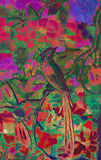Bright Exotic Bird Illustration. Gorgeous, brightly-colored batik-like illustration of an exotic bird amid tropical flowers and trees, created with layers of Stock Illustration