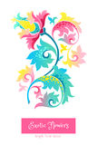 Bright  exotic flowers in Chinese style. Fantastic exotic flowers in Chinese style. Luxury ornament. Bright blue floral illustration. Ornate graphic art Stock Images