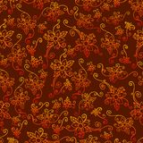 Bright exotic flowers, seamless floral retro pattern royalty free illustration