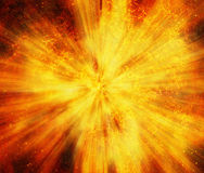 Bright explosion fire speed burst background. S in space stars Royalty Free Stock Images