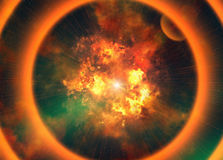 Bright explosion flash on a black background Royalty Free Stock Images