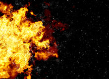 Bright explosion flash on a black backgrounds. Fire burst Stock Images