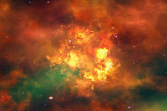 Bright explosion flash on a space background Stock Images