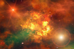 Bright explosion flash on a space background Royalty Free Stock Photo