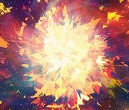 Bright explosion flash on a space background Royalty Free Stock Image