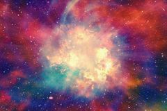 Bright explosion flash on a space background. S Royalty Free Stock Photo