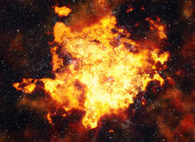 Bright explosion flash on space backgrounds. Fire burst Stock Photos