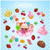 Bright explosive set of bakery Stock Image