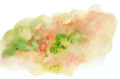 Bright expressive green abd red watercolor blob. Bright expressive green, yellow and red wet watercolor blob, wash technique. Contrast summer field concept stock images