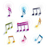 Bright expressive jolly glossy musical notes and symbols isolate Royalty Free Stock Photo
