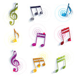 Bright expressive jolly glossy musical notes and symbols isolate Stock Photo
