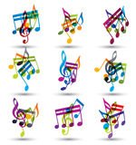 Bright expressive jolly musical notes and symbols  on wh Stock Images