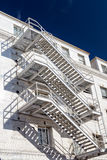 Bright Exterior Diagonal Staircase. Against blue sky Royalty Free Stock Image