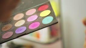 Bright eye make-up closeup stock video
