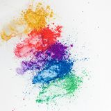 Bright eye shadows in different colors of the rainbow, scattered on a white background. stock images