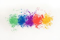 Bright eye shadows in different colors of the rainbow, scattered on a white background. royalty free stock photos