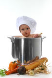 Bright Eyed Baby Chef. In a Pot on White Background Royalty Free Stock Photo