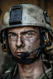 Bright eyes of young soldier Stock Images