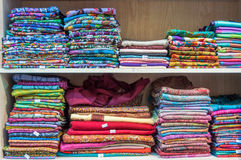 Bright fabric for sale. In Mutrah Souk, in Mutrah, Muscat, Oman, Middle East Royalty Free Stock Photo
