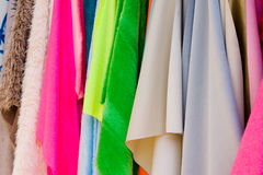 Bright fabrics Stock Images