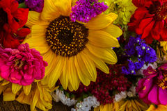 Bright fall bouquet. Bright bouquet with fall flowers close up background stock photo