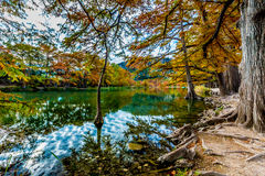 Bright Fall Foliage and Emerald Green Waters at Garner State Park, Texas Royalty Free Stock Images